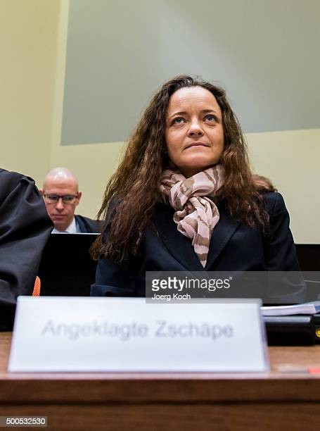 Beate Zschaepe the main defendant in the NSU neoNazi murder trial waits for day 249 of the trial at the Oberlandgericht courthouse on December 9 2015...