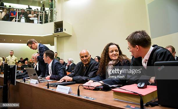 Beate Zschaepe the main defendant in the NSU neoNazi murder trial sits with her lawyers Mathias Grasel Hermann Borchert and Wolfgang Heer and wait...