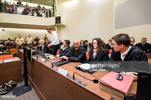 Beate Zschaepe the main defendant in the NSU neoNazi murder trial talks with her lawyers Mathias Grasel Hermann Borchert Wolfgang Stahl Wolfgang Heer...