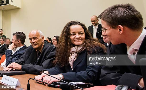 Beate Zschaepe the main defendant in the NSU neoNazi murder trial waits for day 249 of the trial to start at the Oberlandgericht courthouse on...