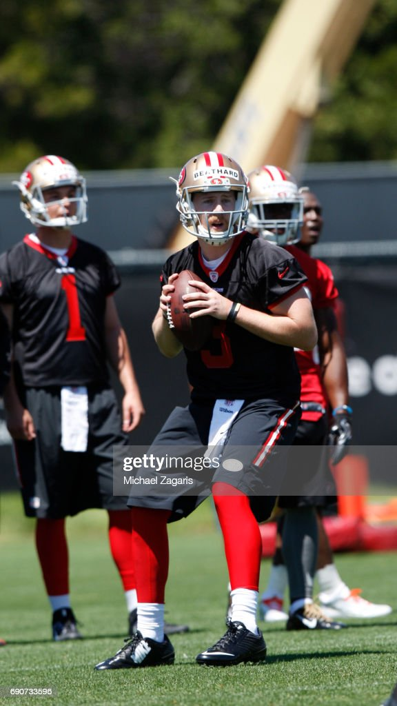 C.J. Beathard of the San Francisco 49ers goes through drills during the teams rookie camp at the 49ers training facility at Levi Stadium on May 05, 2017 in Santa Clara, California.