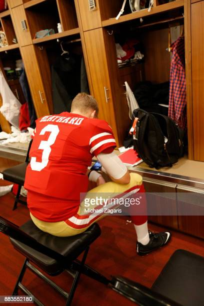 J Beathard of the San Francisco 49ers relaxes in the locker room prior to the game against the Seattle Seahawks at Levi's Stadium on November 26 2017...