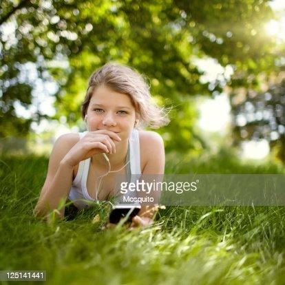 Beatiful Teenage Girl in the Park : Stock Photo