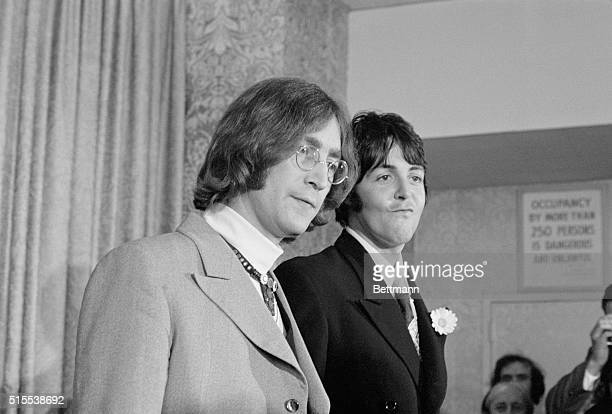 Beatle businessBeatles John Lennon and Paul McCartney face the press here May 14th and announce the establishment of an organization to serve as a...