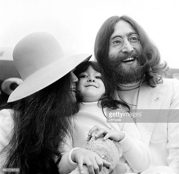 Beatle John Lennon and his wife Yoko Ono left Heathrow Airport London to fly to the Bahomes for another 'Bedin' they took Yoko's daughter Kyoko 5 25...