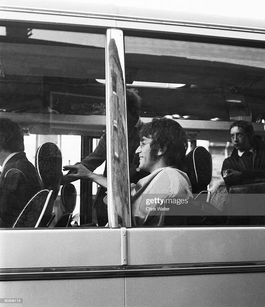 Beatles 1967 John Lennon on the Magical Mystery Tour bus. in Cornwall