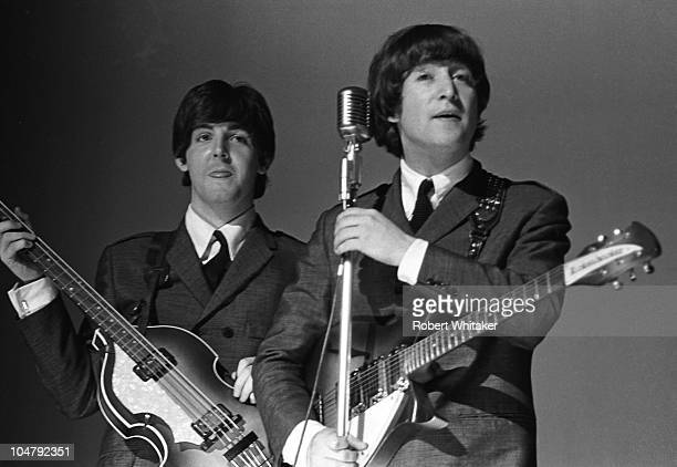 Beatles Paul McCartney and John Lennon on stage during their US Tour August 1965