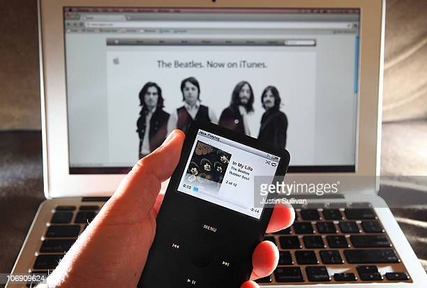 A Beatles song plays on an iPod November 16 2010 in San Anselmo California Apple has struck a deal with the record label EMI and the Beatles' company...
