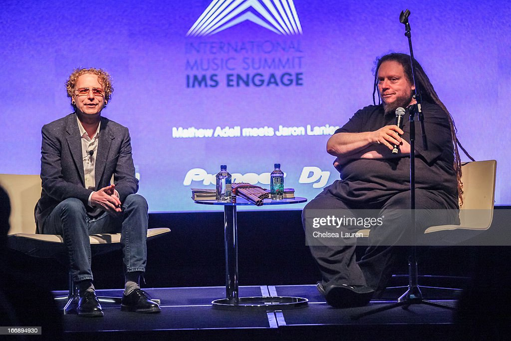 Beatport CEO Matthew Adell (L) and author / virtual pioneer Jaron Lanier attend IMS Engage in partnership with W Hotels Worldwide at W Hollywood on April 17, 2013 in Hollywood, California.