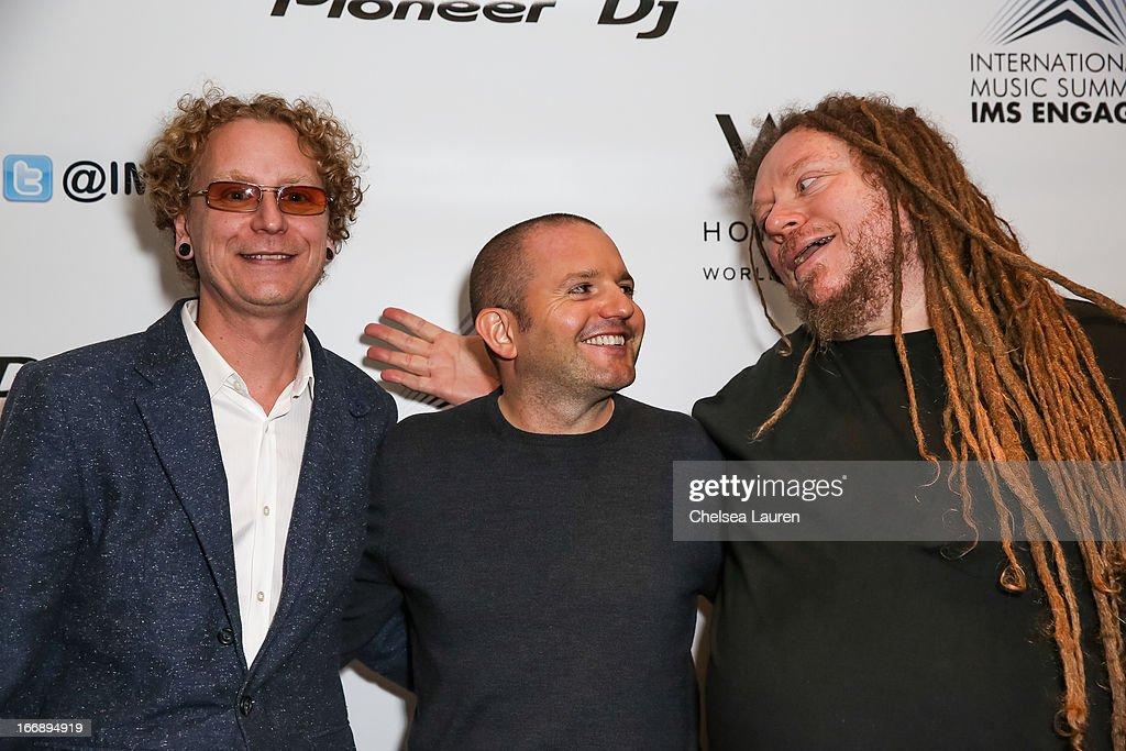 Beatport CEO Matthew Adell, IMS partner Ben Turner and author / virtual pioneer Jaron Lanier attend IMS Engage in partnership with W Hotels Worldwide at W Hollywood on April 17, 2013 in Hollywood, California.