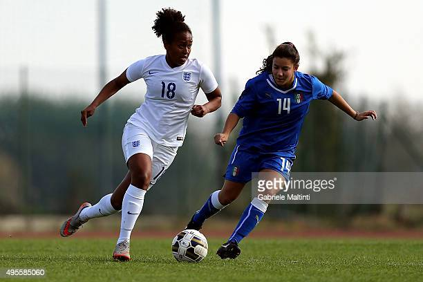 Beatrice Abati of Italy U19 women's battles for the ball with Atlanta Primus of England U19 women's during the international friendly match between...