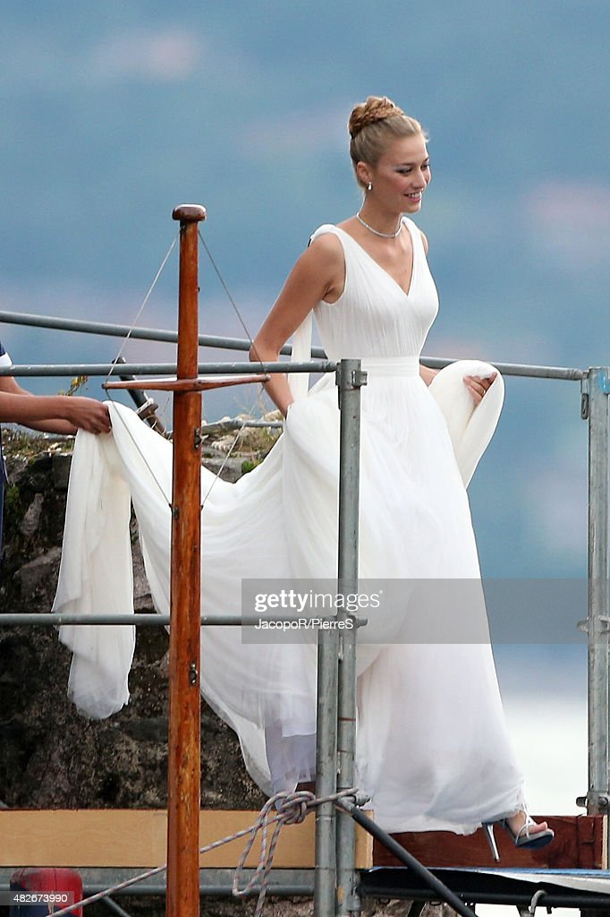 Beatrice Boromeo leaves Isola Madre to attend her wedding party on August 1, 2015 in Stresa, Italy.