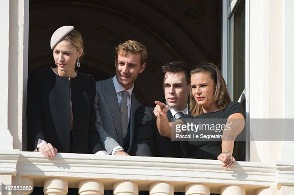 Beatrice Borromeo Pierre Casiraghi Louis Ducruet and Princess Stephanie of Monaco greet the crowd from the palace's balcony during the Monaco...