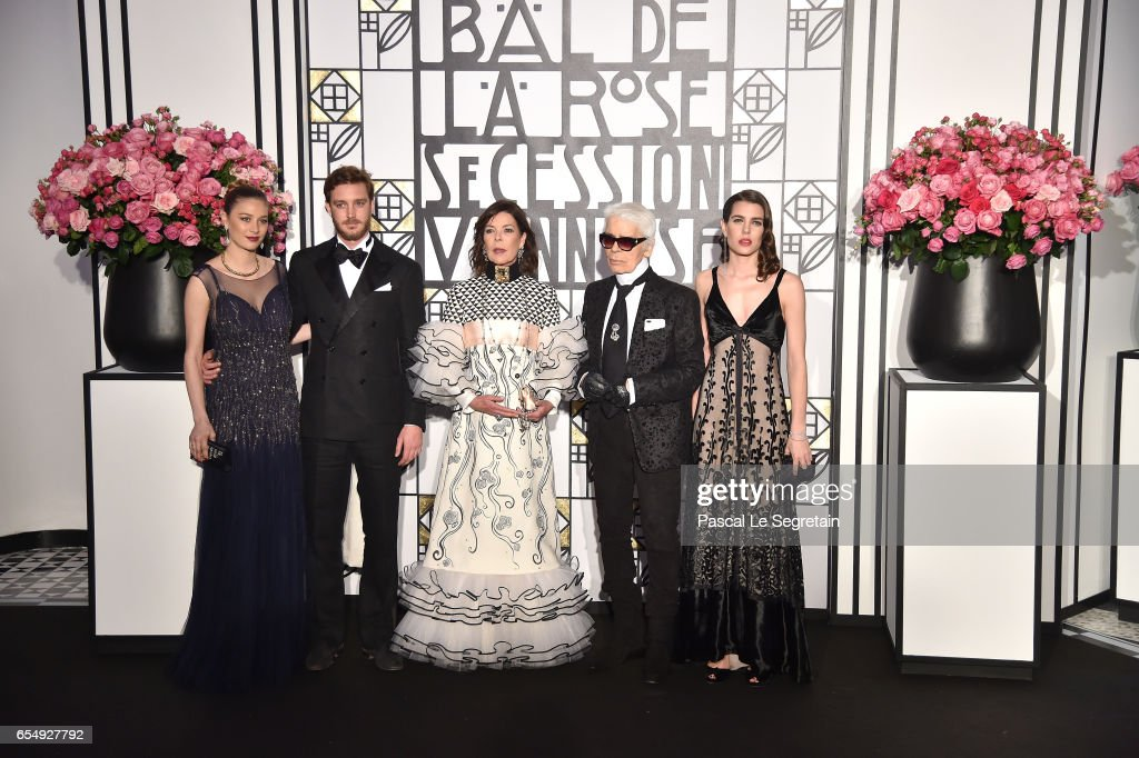 Beatrice Borromeo,Pierre Casiraghi, Princess Caroline of Hanover, Karl Lagerfeld and Charlotte Casiraghi attend the Rose Ball 2017 To Benefit The Princess Grace Foundation at Sporting Monte-Carlo on March 18, 2017 in Monte-Carlo, Monaco.