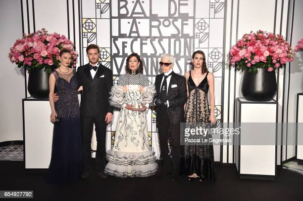 Beatrice BorromeoPierre Casiraghi Princess Caroline of Hanover Karl Lagerfeld and Charlotte Casiraghi attend the Rose Ball 2017 To Benefit The...