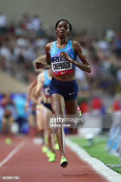 Beatrice Chepkoech of Kenya on her way to victory in the women's 3000m race during the IAAF Diamond League Meeting Herculis on July 21 2017 in Monaco...