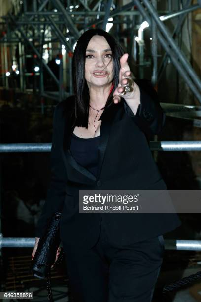 Beatrice Dalle attends the Saint Laurent show as part of the Paris Fashion Week Womenswear Fall/Winter 2017/2018 on February 28 2017 in Paris France