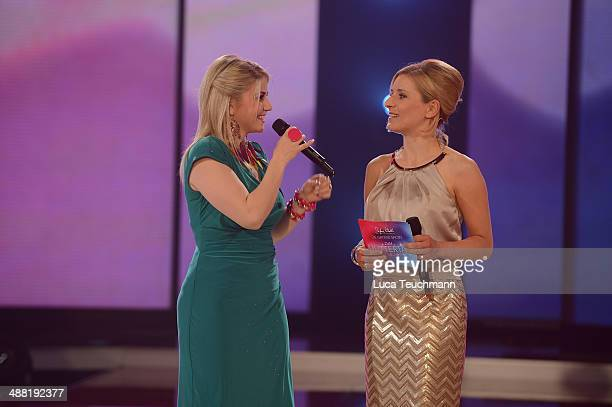 Beatrice Egli and Stefanie Hertel performs during 'Stefanie Hertel Die grosse Show zum Muttertag' Rehearsal on May 4 2014 in Altenburg Germany