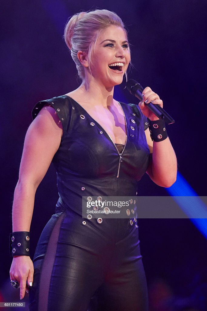 Beatrice Egli is seen on stage at the 'Das grosse Fest der Besten' tv show at Velodrom on January 7, 2017 in Berlin, Germany.