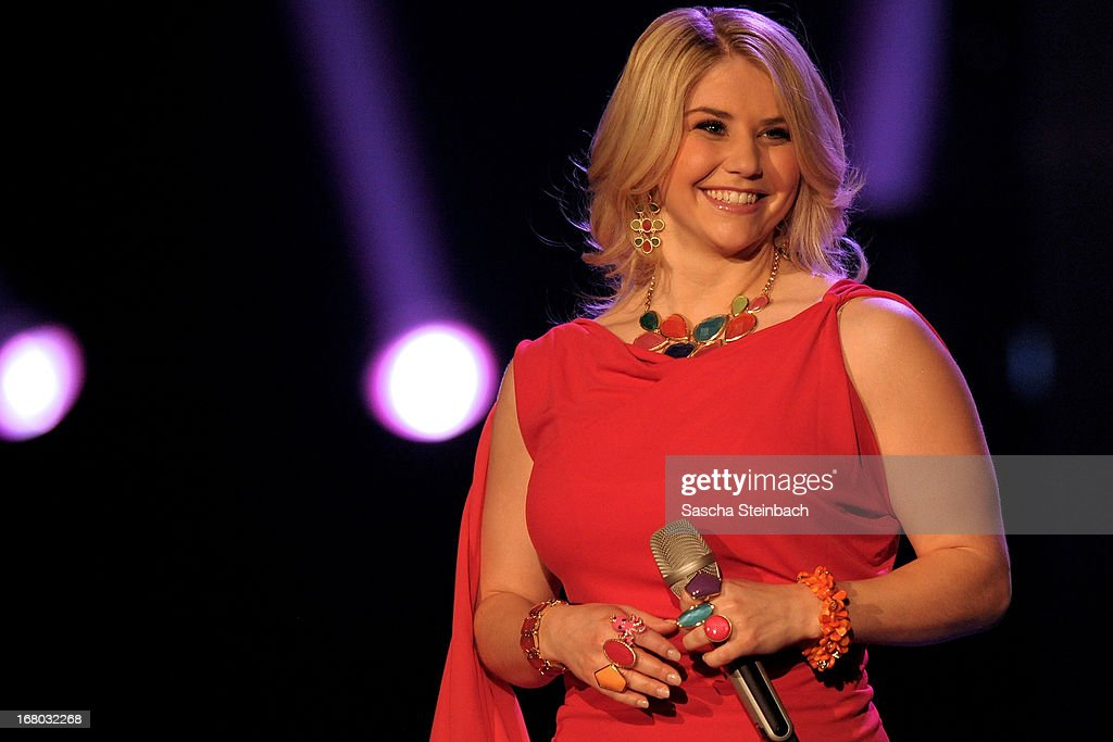 Beatrice Egli looks on during the rehearsal for the semi final of 'Deutschland Sucht Den Superstar' at Coloneum on May 4, 2013 in Cologne, Germany.