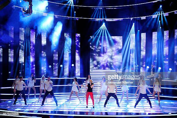 Beatrice Egli performs during the national tv show 'Willkommen bei Carmen Nebel' at TUI Arena on March 28 2015 in Hanover Germany