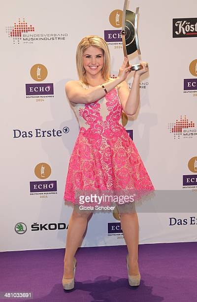 Beatrice Egli poses at the Echo award 2014 winners board at Messe Berlin on March 27 2014 in Berlin Germany