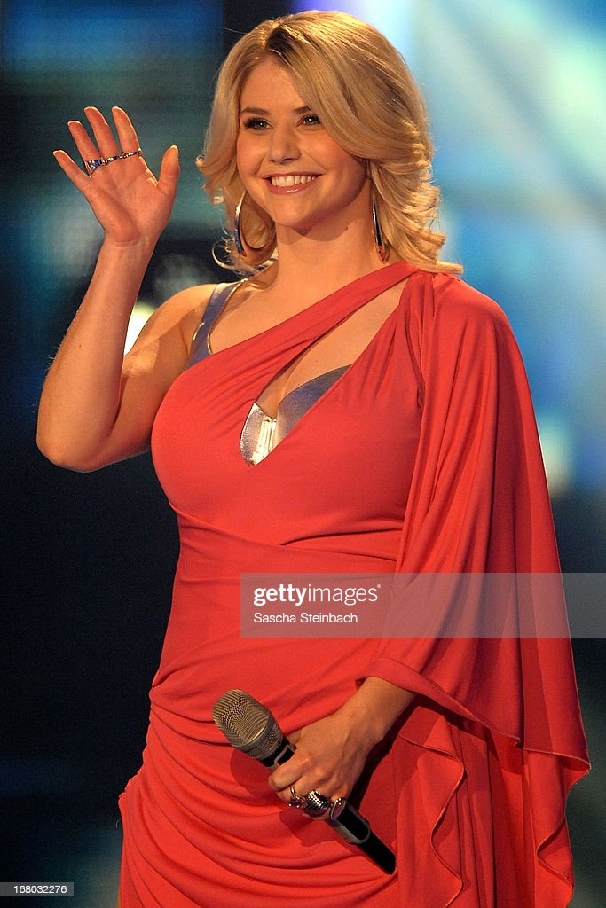 Beatrice Egli reacts during the rehearsal for the semi final of 'Deutschland Sucht Den Superstar' at Coloneum on May 4, 2013 in Cologne, Germany.