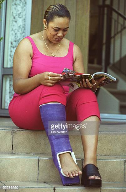 Beatrice Faumuina relaxing at her home in Glendene after an injury to her achilles tendon prevents her from training