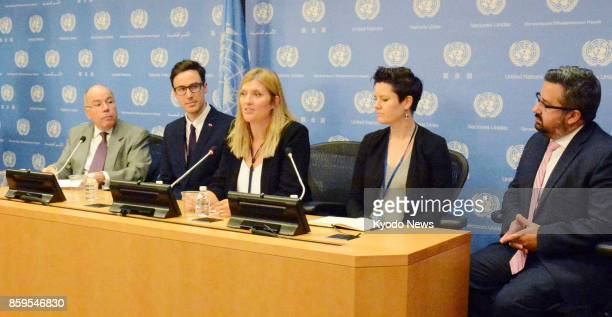 Beatrice Fihn chief of the International Campaign to Abolish Nuclear Weapons attends a press conference in New York on Oct 9 after the Nobel Peace...