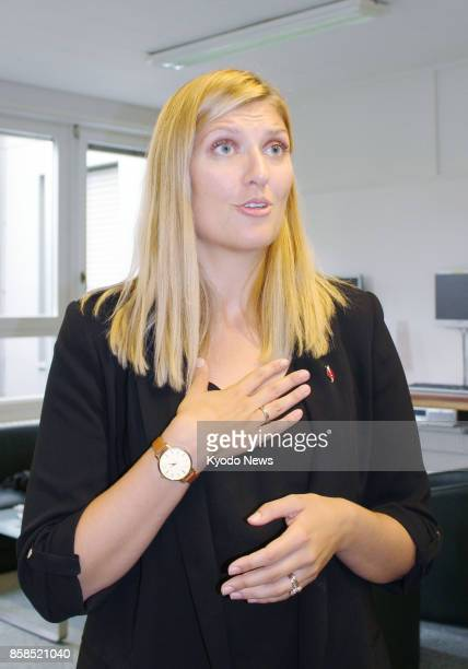 Beatrice Fihn chief of the Nobel Peace Prizewinning International Campaign to Abolish Nuclear Weapons gives an interview to Kyodo News in Geneva on...