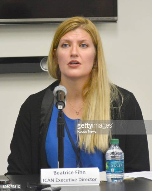 Beatrice Fihn executive director of the International Campaign to Abolish Nuclear Weapons attends a press conference at the UN headquarters in New...