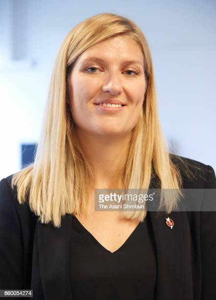 Beatrice Fihn executive director of the International Campaign to Abolish Nuclear Weapons speaks to media after the Nobel Peace Prize is announced on...