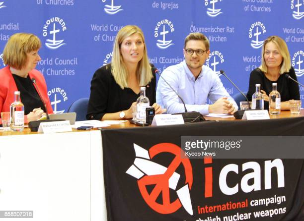 Beatrice Fihn executive director of the International Coalition to Abolish Nuclear Weapons attends a press conference in Geneva on Oct 6 after ICAN...