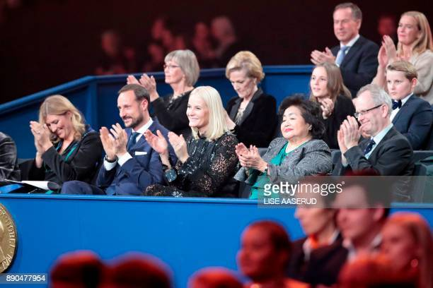 Beatrice Fihn leader of ICAN Crown Prince Haakon of Norway Crown Princess MetteMarit of Norway ICAN campaigner and Hiroshima survivor Setsuko Thurlow...