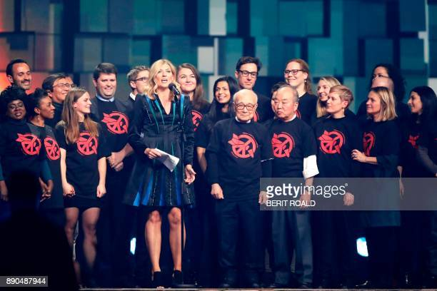 Beatrice Fihn leader of ICAN delivers a speech during the Nobel Peace Prize Concert to honor the peace prize laureates ICAN in Fornebu Norway on...