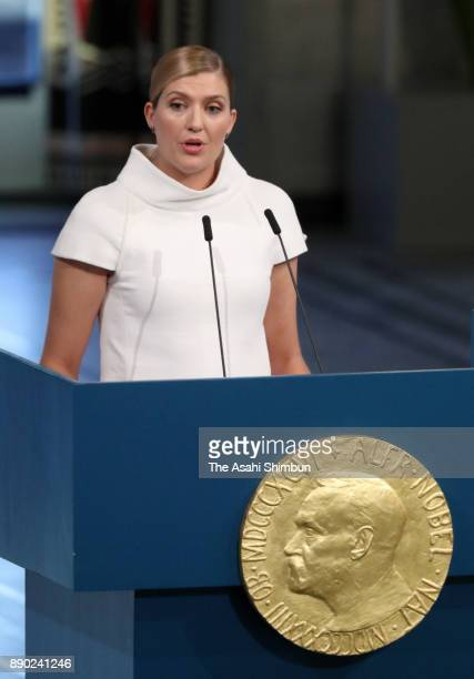 Beatrice Fihn the Executive Director International Campaign to Abolish Nuclear Weapons addresses the Nobel Peace Prize ceremony at the Oslo City Hall...