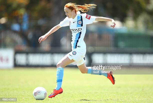 Beatrice Goad of City controls the ball during the round six WLeague match between Melbourne City and the Brisbane Roar at CBSmith Reserve on...