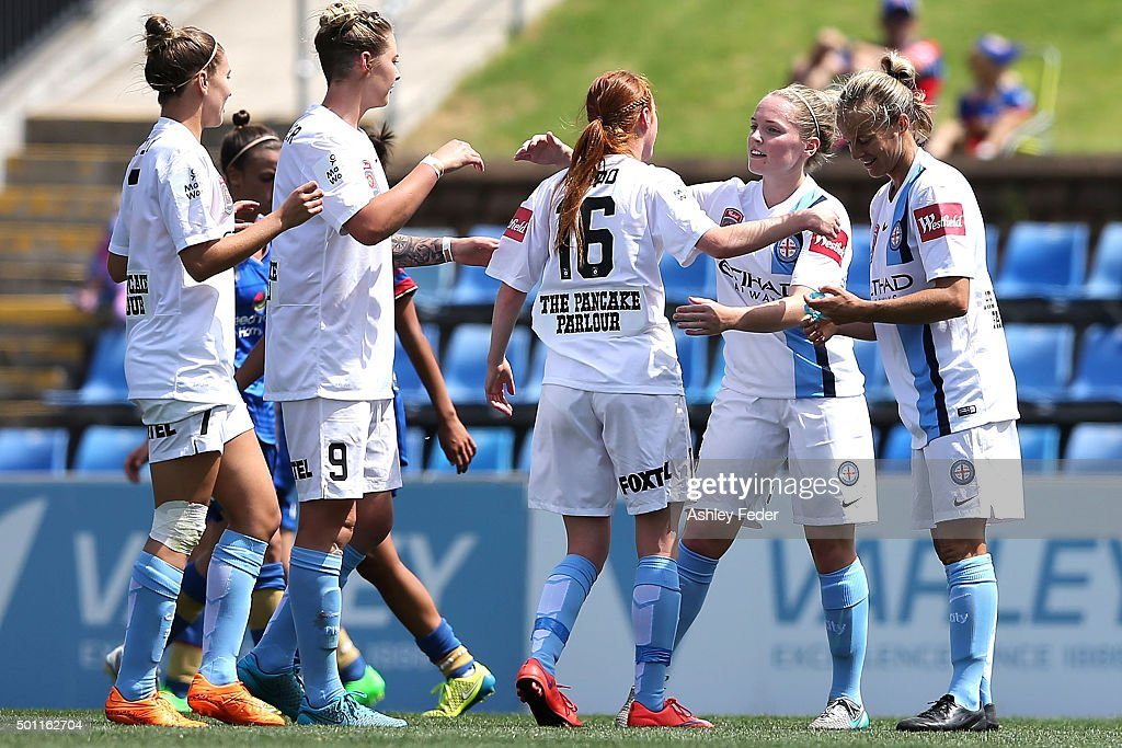 Beatrice Goad of Melbourne City celebrates a goal with team mates during the round nine WLeague match between the Newcastle Jets and Melbourne City...