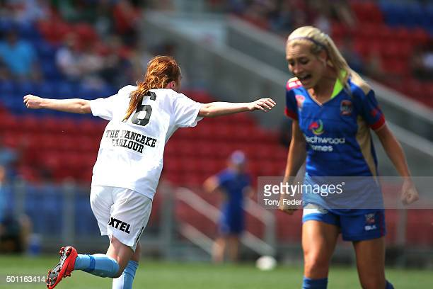 Beatrice Goad of Melbourne City celebrates after scoring a goal during the round nine WLeague match between the Newcastle Jets and Melbourne City FC...