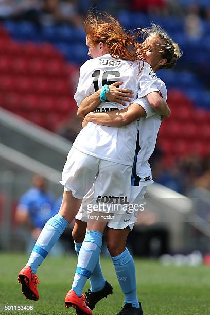Beatrice Goad of Melbourne City celebrates with a team mate after scoring a goal during the round nine WLeague match between the Newcastle Jets and...