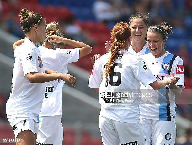 Beatrice Goad of Melbourne City celebrates with team mates after scoring a goal during the round nine WLeague match between the Newcastle Jets and...