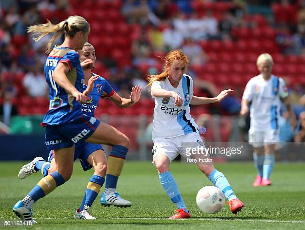 Beatrice Goad of Melbourne City shoots to score a goal during the round nine WLeague match between the Newcastle Jets and Melbourne City FC at Hunter...
