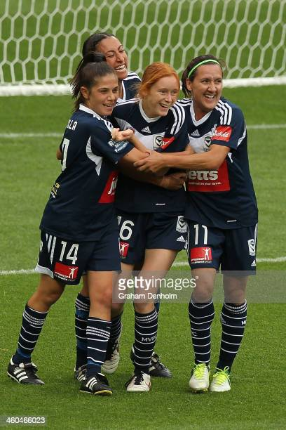 Beatrice Goad of the Victory celebrates her goal with teammates during the round seven WLeague match between the Melbourne Victory and the Western...