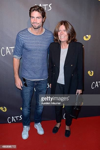 Beatrice Leeb and her son Tom Leeb attend the 'Cats' photocall at Theatre Mogador on October 1 2015 in Paris France