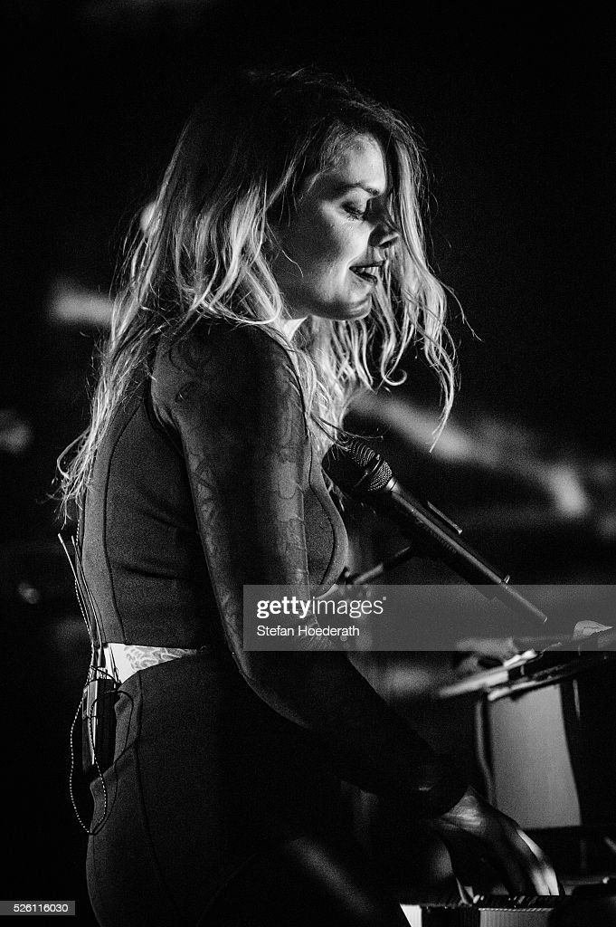 Beatrice Martin aka Coeur De Pirate performs live on stage during a concert at Postbahnhof on April 29, 2016 in Berlin, Germany.