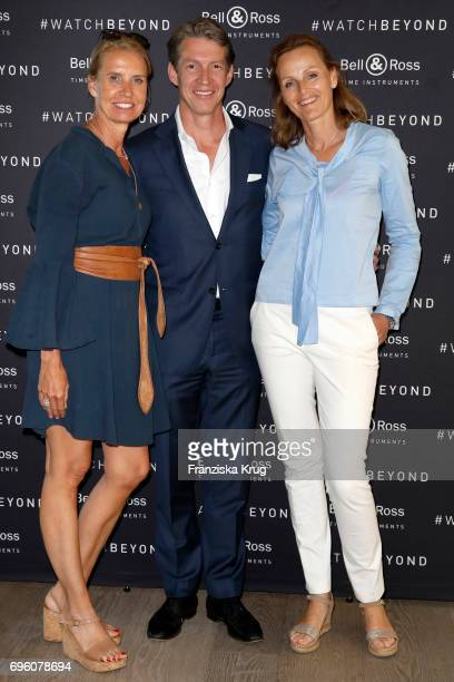 Beatrice Miller Christoph Miller and Ute Schues attend the Bell Ross Cocktail Party at Elbphilharmonie show apartment on June 14 2017 in Hamburg...