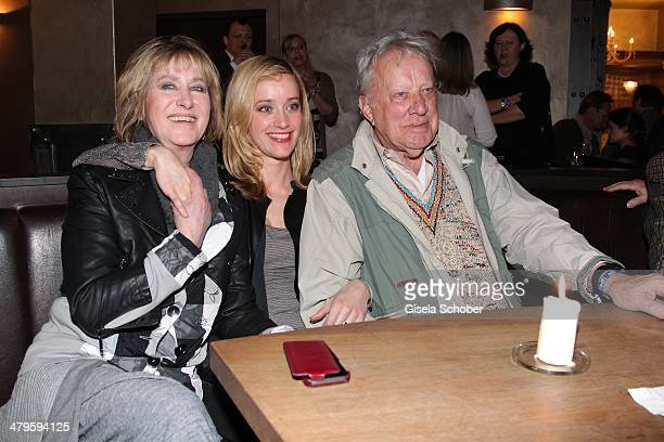 Beatrice Richter and daughter Judith Richter and her father Heinz Baumann attend the NDF After Work Presse Cocktail at Parkcafe on March 19 2014 in...