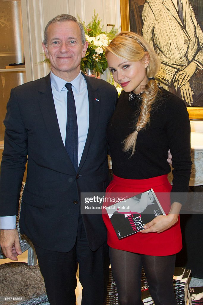 Beatrice Rosen (R) and Francis Huster attend the signing of Huster's book 'And Dior Created Woman' at Dior Boutique on November 19, 2012 in Paris, France.