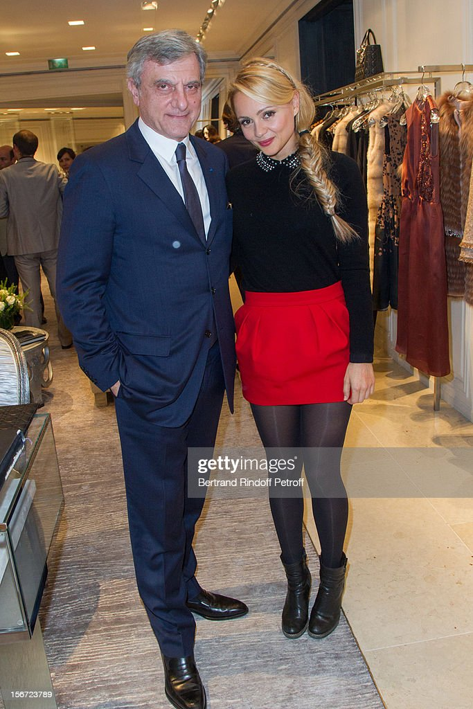 Beatrice Rosen (R) and Sidney Toledano, CEO of Christian Dior, attend the signing of Francis Huster's book 'And Dior Created Woman' at Dior Boutique on November 19, 2012 in Paris, France.