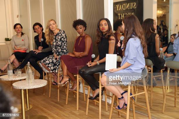 Beatrice Springborn Jenny Wall Yvonne Strahovski Samira Wiley Tamika Mallory and Audrey Gelman speak on a panel during a VIP screening of the...
